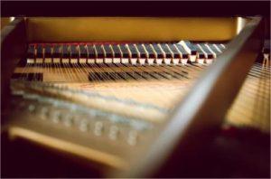 cordes et marteaux d'un piano à queue
